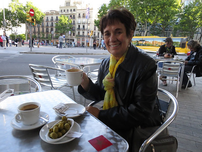 Cafes everywhere! Coffee on our first walk? olives for Bob