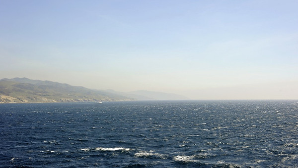 Approaching Tarifa from Tangier, Fri 2 May 2014.  Looking east along the Spanish coast towards Gibraltar, lost in the haze.