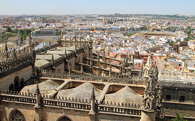 View over the cathedral and historic Seville from the top of La Giralda.  The bullring is on the right.