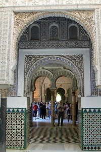 Alcazar - View from Patio de las Munecas, the Patio of the Dolls, into the horseshoe arches of the Ambassadors Hall.