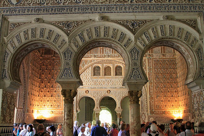 Alcazar - Horseshoe Arches within the spectacular Salon de Embajadores (Hall of the Ambassadors).