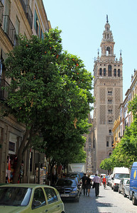La Giralda, the Moorish bell tower of the cathedral was originally built as a minaret in 1198.  The tower was converted to Christianity in the 14th and 16th centuries by replacing and adding to the top of the tower.