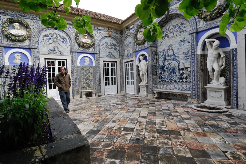 Magnificent tile work of the Marques de Fronteira Palace near Lisbon, Portugal.  <br /> Palace was built beginning in 1640 and continues to be privately owned.<br /> Monday May 26, 2008