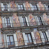 Fresco paintings on walls of Plaza Mayor.<br /> Thursday, May 15, 2008.