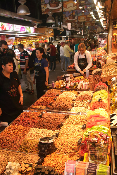 Confectionary and Nut stall Mercat de la Boqueria interior Barcelona Spain