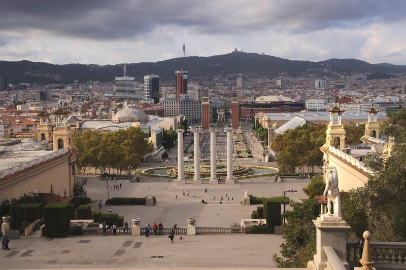 Barcelona cityscape towards Placa d'Espanya