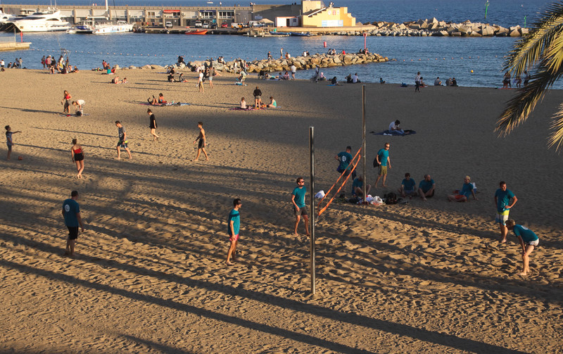 People playing Volleyball at Barcelona Beach Spain