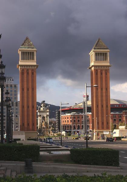 Venetian style Towers Placa d'Espanya Barcelona Spain