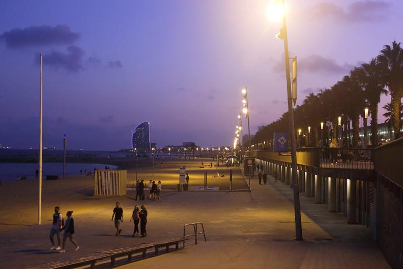 Somorrostro beach Barcelona at night Spain