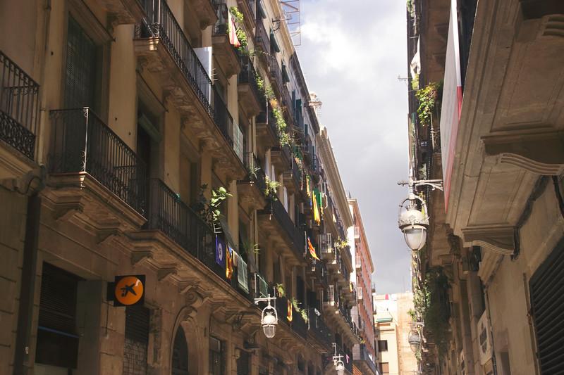 Alley in the Barri Gotic Barcelona Spain