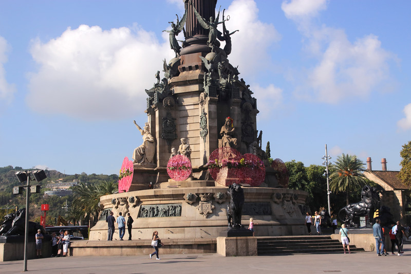 Base of Monument a Colom Barcelona Spain