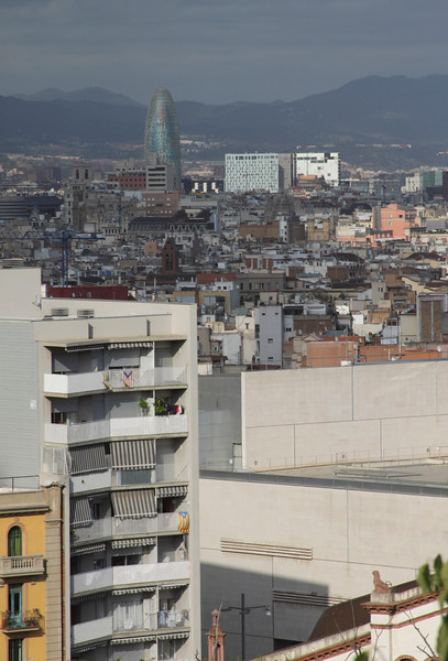 Barcelona cityscape including Torre Agbar view from Montjuic