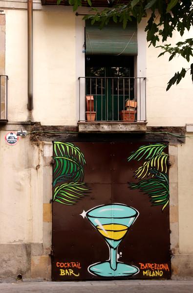 Graffiti in La Ribera advertising Milano Coctail Bar Barcelona Spain