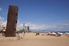 Barcelona Beach and L'Estel Ferit modern sculpture by Rebecca Horn