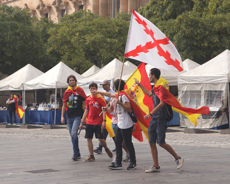 Catalonia independence referendum Pro unity demonstrators at Port Vell Barcelona October 2017