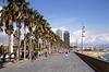 Passeig Maritim promenade by Barcelona beach Spain