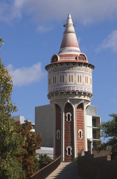 Torre de les Aigues water tower in Parc de la Barceloneta Barcelona Spain