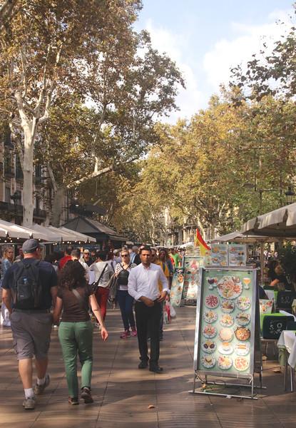 People walking down La Rambla Barcelona October 2017