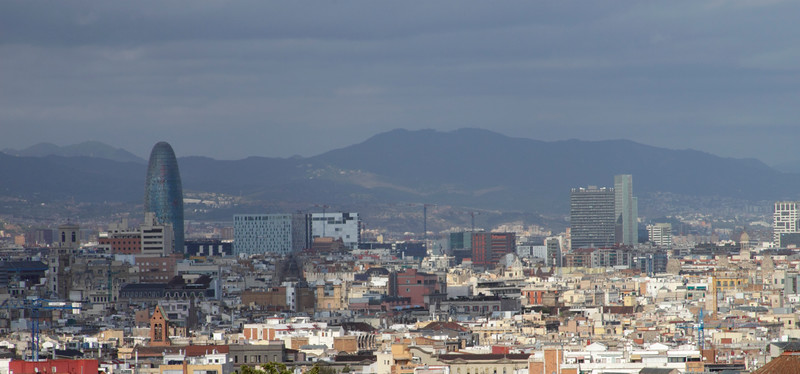 Panoramic Barcelona cityscape including Torre Agbar view from Montjuic