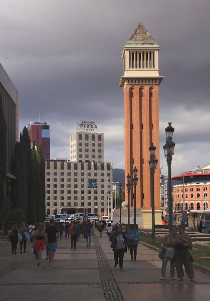 Venetian style Tower Placa d'Espanya Barcelona Spain