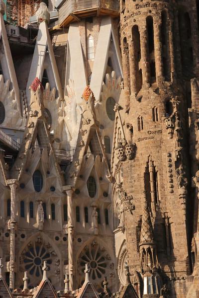 Closeup La Sagrada Familia Barcelona Spain 2017