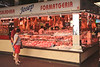 Meat stall Mercat de la Boqueria interior Barcelona Spain