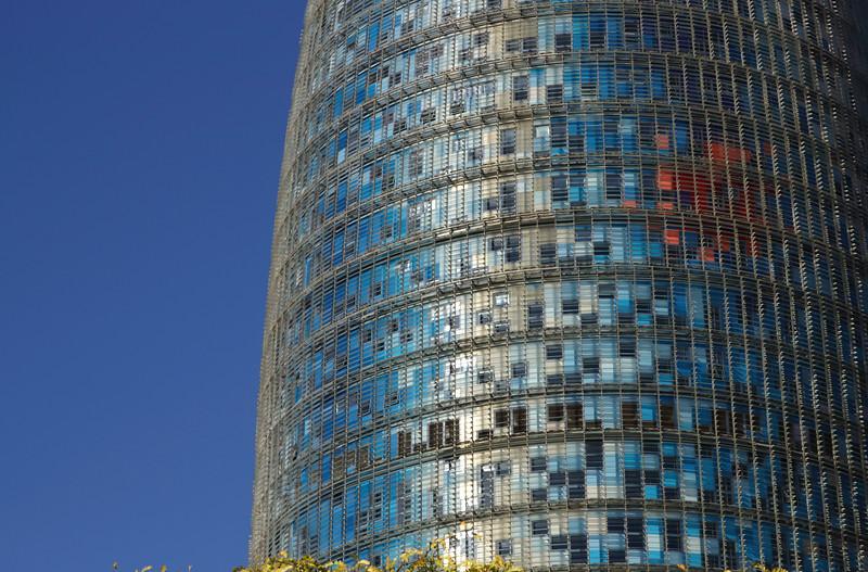 Closeup Torre Agbar Barcelona Spain