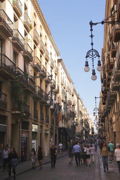 Street in the Barri Gotic Barcelona Spain