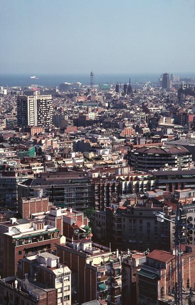 Barcelona skyline view from La Sagrada Familia