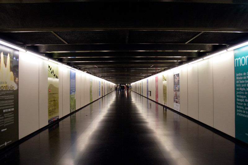 Subway leading to the furnicular railway connecting to the Parc de Montjuic Barcelona
