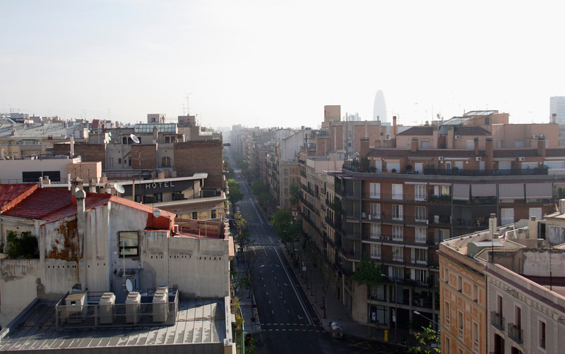 Barcelona skyline view from the Eixample district