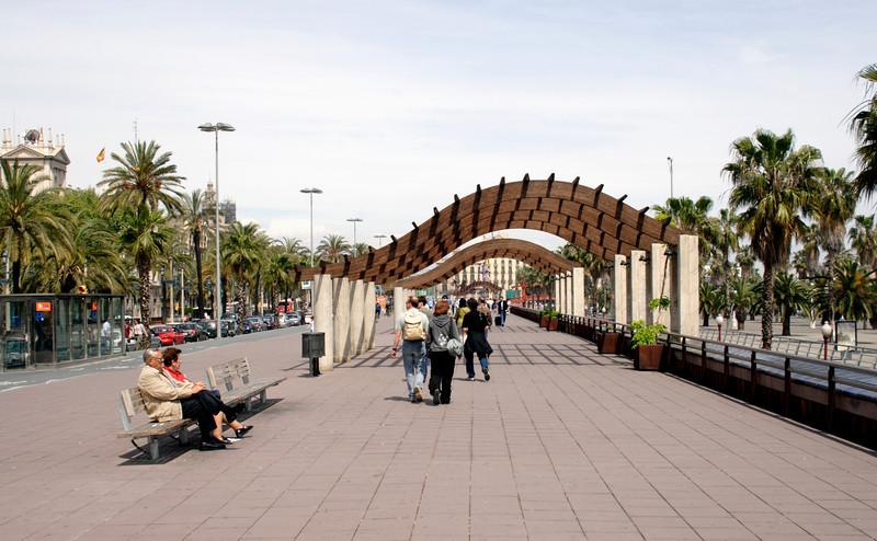 Pedestrian boulevard along the Passeig de Colom Barcelona