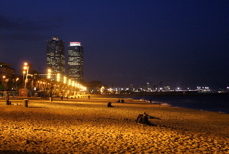 Barcelona Beach at night Villa Olimpica in the background