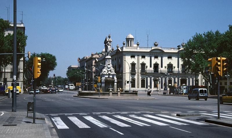 Barcelona street zebra crossing and traffic lights