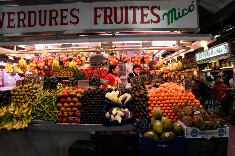 Fruit store in the Mercat de la Boqueria Barcelona