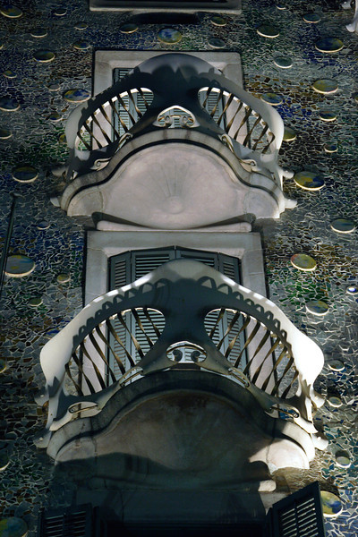 Closeup Casa Batllo Barcelona at night
