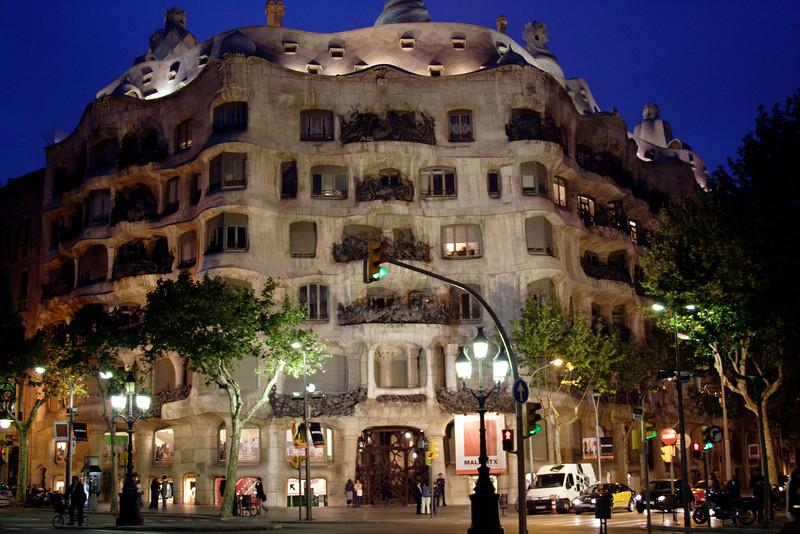 La Pedrera Barcelona at night