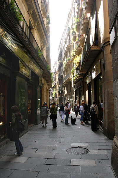Alley in the Barri Gotic Barcelona