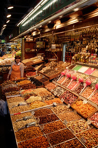 Confectionary and nuts stall Mercat de la Boqueria Barcelona