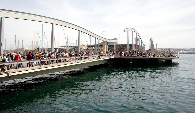 Rambla de Mar footbridge at the Waterfront Barcelona