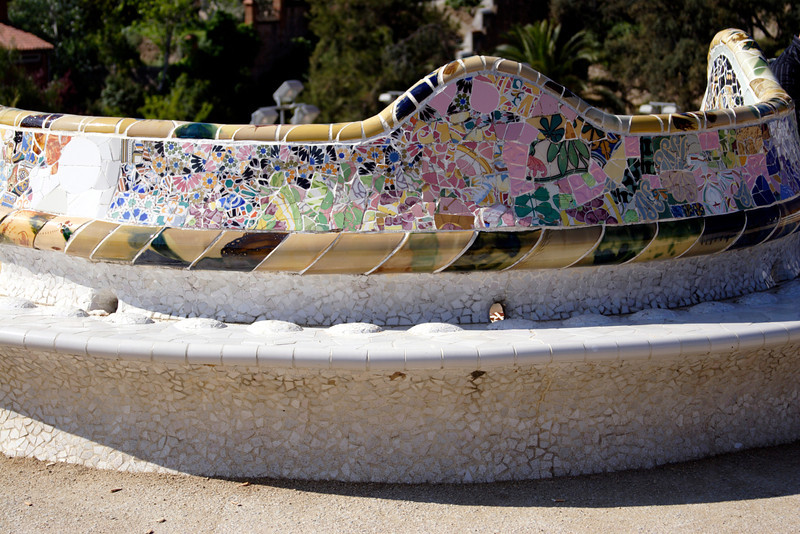 Serpentine mosaic bench Parc Guell Barcelona