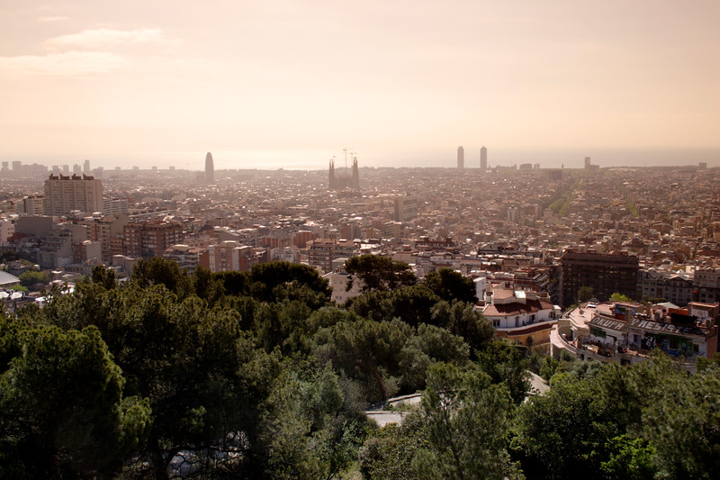 Barcelona skyline view from Parc Guell