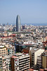 Barcelona skyline Torre Agbar office tower in the distance