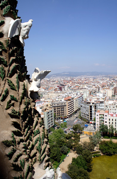 Barcelona skyline view from La Sagrada Familia