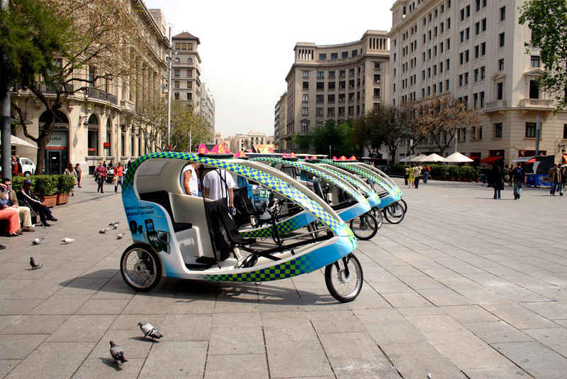 Tricycle taxis in the Placa de la Seu Barcelona