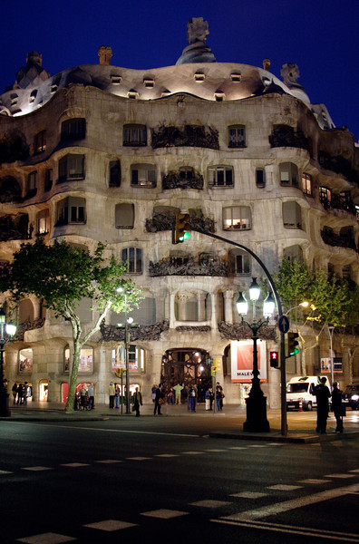 La Pedrera Barcelona at night