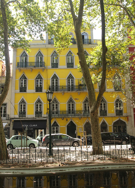 Colourful building on Avenida da Liberdade Lisbon Portugal