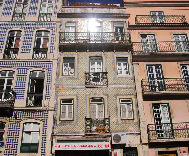 Residential buildings along Rua de Sao Bento Lisbon Portugal