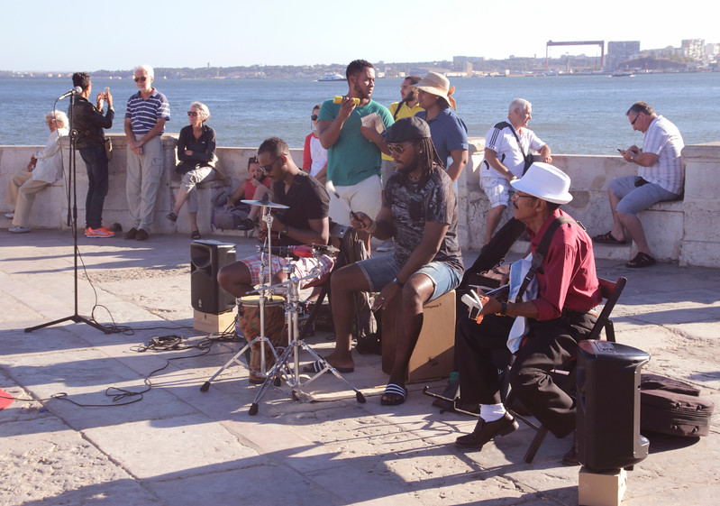 Band playing near Praca do Comercio by River Tagus Lisbon Portugal