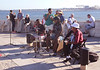 Band playing near Praca do Comercio by River Tagus Lisbon Portugal